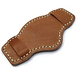 Saddle Brown Pull Up Leather BUND Pad for 20mm - 24mm watch straps, Beige Wax Stitching