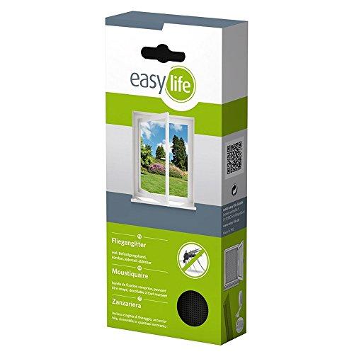 easy life Fliegengitter für Fenster 3,00 x 1,50 m anthrazit durchsichtig - perfekter Schutz vor Insekten