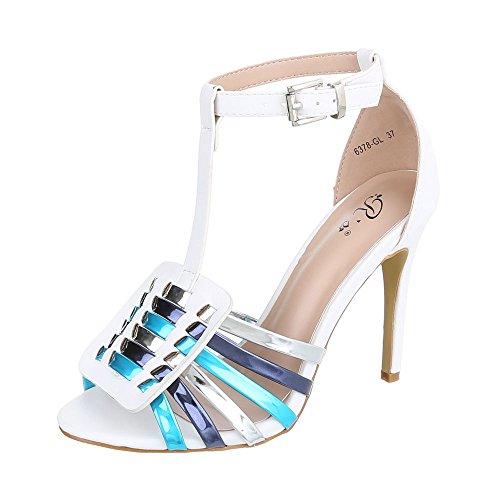 Ital-Design , chaussures compensées femme Weiß Multi