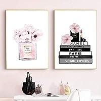 wangjingxi Livre De Mode Bouteille De Parfum Affiches Mur Art Toile Peinture Aquarelle Fleurs Vogue Photos Estampes pour Salon Décor À La Maison 40X50Cmx2