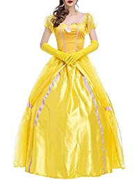 KINDOYO Femmes Gothique Princesse Robe Halloween Cosplay Costume, Jaune 32528545a1f2