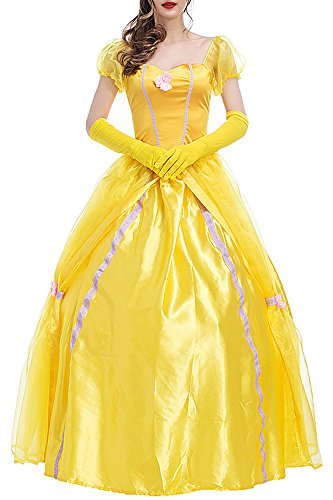 KINDOYO Damen Elegantes Prinzessin Langes Abendkleid Party kleid Cocktail kleid Halloween Cosplay, Yellow