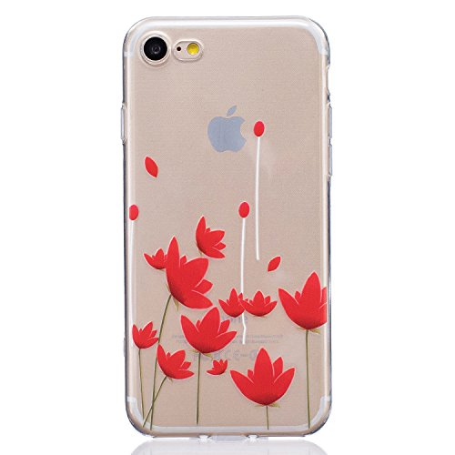 iPhone 7 (4,7 Zoll) Hülle,BONROY® Muster TPU Case SchutzHülle Silikon Case Tasche Weiches Transparentes Silikon Schutzhülle Malerei Muster Ultradünnen Kratzfeste Tasche Schutzhülle Hülle Case Cover Et Red Lotus