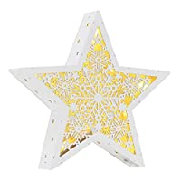 Mr Crimbo White Star Christmas Light Up Room Decoration Battery Operated LED Ornament