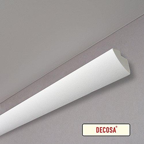 Decosa G35 (Karoline), 1 Leiste à 2 m Länge - Dekorative Lichtleiste in Weiß für indirekte Beleuchtung von Wand und Decke - Die Stuckleiste ist kombinierbar mit LED Band oder Lichtschlauch - 45 x 42 mm