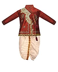 JBN Creation Maroon Kids Dhoti Kurta