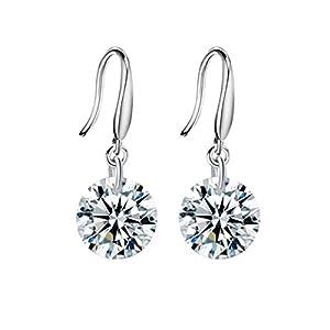 Damen Ohrringe 925 Sterling Silber mit Swarovski Kristall Zirkonia Rund Weiß Mädchen Ohrhänger von Changeable