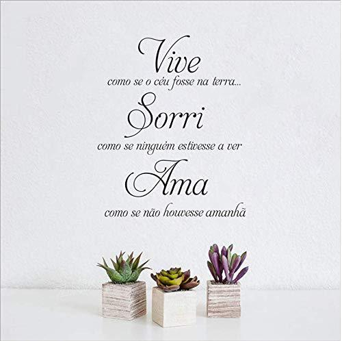Qthxqa Dekoration Portugiesisch Wandaufkleber Ausgangsdekor Vive Como O Ceu Fosse Na Terra Vinyl Wandtattoos Für Portugiesisch 56 * 69 Cm