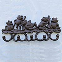 CJH Cast Iron Craft Iron Hook Relief Hook Wall Decoration Five Frog Map European Design