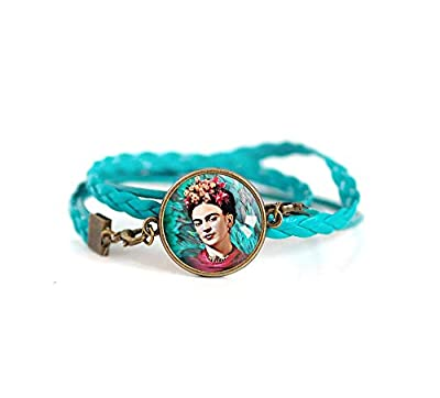 Bracelet double tresse turquoise, Cabochon Frida Khalo, bohême chic, boho, gypsy