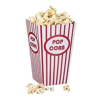 Relaxdays Popcorntüten, 48 Stück, gestreift, US-Retrostyle, Kino, Filmabend Zubehör, Kindergeburtstag, Pappe, rot/weiß, Standard
