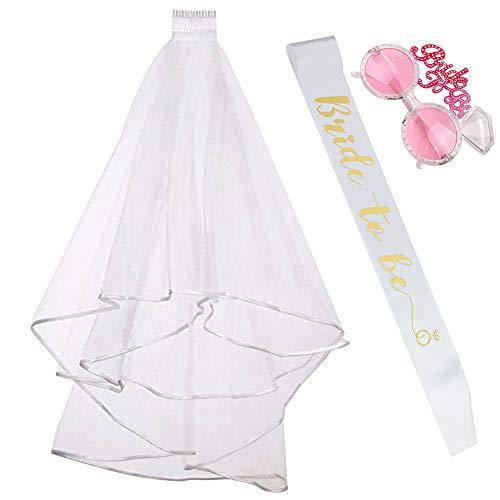 Fiyomet Bachelorette Party Dekorationen Kit Bridal Shower Supplies Braut Schärpe Schleier Gläser sein