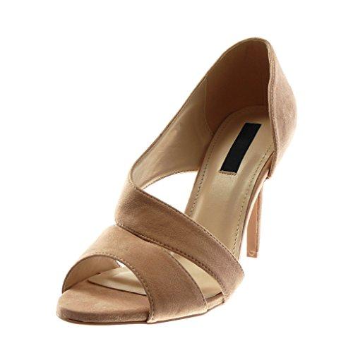 Stiletto Multi Donna Centimetri Talloni 10 cinghia Angkorly Moda Scarpa Scarpa on Sandalo Rosa Stiletto Spuntati Slip pdW4xqw
