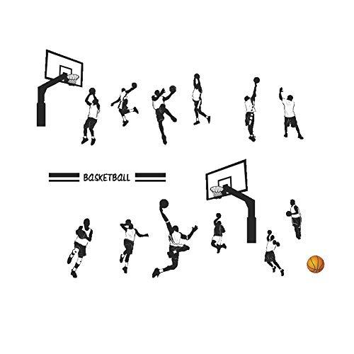 Xiton Cooler Slam Dunk-Wand-Aufkleber Kreative Wandtattoo Schlafzimmer Kinderzimmer Removable Basketball-Wand-Kunst-Papier 1pc (Basketball-wand-kunst)