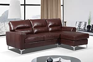 Capella Bonded and Faux Leather Aphrodite Adjustable Chaise End Sofa, Dark Brown