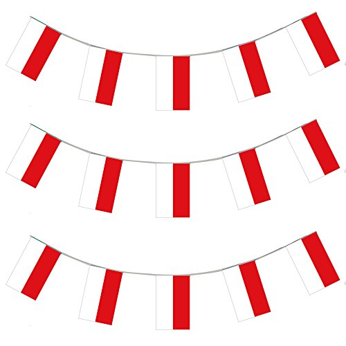 Polen Kostüm Land - EURO FUSSBALL LÄNDERFLAGGEN + USA =GASTLÄNDER WIMPEL = = VON ILOVEFANCYDRESS®=DIE GIRLANDE IST 10 METER LANG UND JEDE EINZELNE FLAGGE HAT DIE MAßE VON 20X30cm =SUPER FLAGGEN FÜR JEDE ART DER DEKORATION ODER SPORT +FAN/PARTY DEKORATION = ALLE FLAGGENKETTEN SIND AUS PLASTIK = SUPER FÜR AUSSEN DEKORATION UND SIND AUF ANFRAGE AUCH IN GRÖßEREN MENGEN ERHALTBAR==POLEN