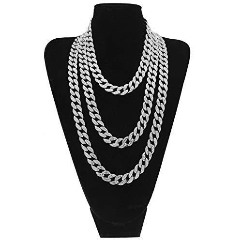 15 MM Edelstahl Herren Damen Halskette Gold Cuban Link Kette, Hip Hop Stil Schmuck Kristall Halskette Länge optional,Silver,51cm