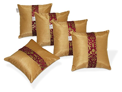 Zikrak Exim Regular Cushion Covers 16X16 Inches (Pack of 5)