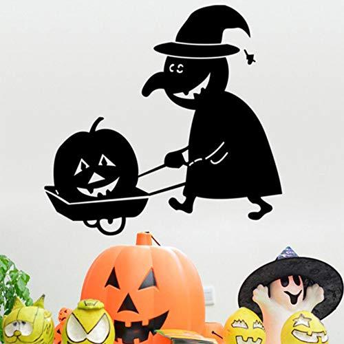 ität Vinyl Wandtattoos Geschnitzte Kürbiskopf Halloween Dekoration Entfernbare Wandaufkleber Wohnzimmer 55x51 cm ()
