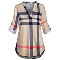 SeSe Code Women Checked Shirt Ladies Tartan Tunic Tops Apricot Lightweight Dressy Shirts Stretchy Fabric Relaxed Fit Flared Long Sleeve Blouse Grey and Beige M