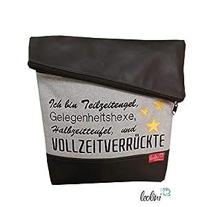 Foldover Tasche Spruch Vollzeitverrückte Stickerei handmade Foldovertasche mit Außenfach