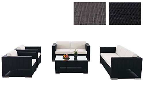 CLP Outdoor Lounge-Set BRAC XL aus Aluminium & wasserabweisender Stoff (7 Sitzplätze) mit Tisch 100 x 75 cm schwarz