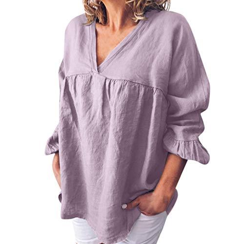 CUTUDE Damen T Shirt, Bluse Kurzarm Sommer Mode Baumwolle Leinen Volltonfarbe V-Ausschnitt Lose Casual Tops (Lila, Small)