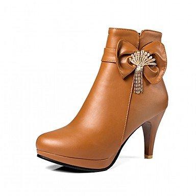 RTRY Scarpe Donna Pu Similpelle Autunno Inverno Comfort Novità Moda Stivali Stivali Stiletto Heel Round Toe Stivaletti/Stivaletti Di Strass US7.5 / EU38 / UK5.5 / CN38