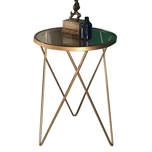 DEO Table D'appoint Tables Dorées Avec Dessus En Verre. Décoratif pour le salon, la terrasse, le jardin ou la chambre à coucher