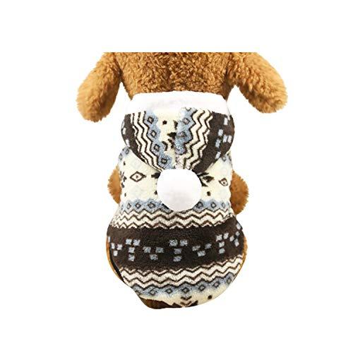 Yowablo Hundepullover Hundejacke Hundemantel Winter für Kleine Hunde Haustier Hundewelpen Kleidung Weihnachten mit Kapuze Wintermantel/Winterjacke Weihnachts kostüm (L,Braun)