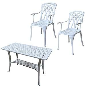 Lazy Susan - Tavolo da appoggio per barbeque e 2 sedie APRIL - Mobili da giardino in alluminio pressofuso, colore Bianco