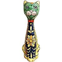 CERAMICHE D'ARTE PARRINI- Ceramica italiana artistica , gatto decorazione floreale