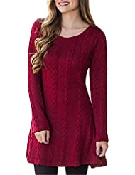 Senza Fretta Women Long Knitted Jumpers For Women Ladies Sweater Knitwear Knit Round Neck Long Sleeve Casual Sweaters Slim Casual Knitted Sweater Mini Dress Dresses