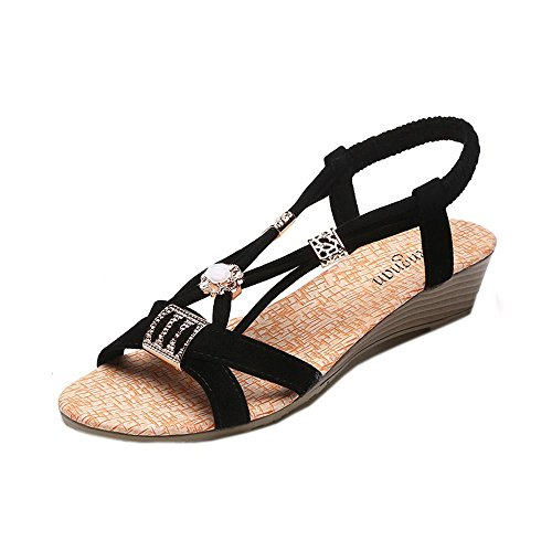 Amlaiworld Scarpe Zeppe donna Bohemia perline tempo libero peep-toe scarpe outdoor nero