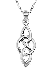 Ornami Ladies Celtic Knot and Circle Pendant with 46 cm Silver Curb Chain