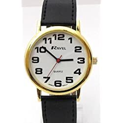 LADIES RAVEL LARGE EASY READ GOLD WATCH. EXTRA LONG STRAP 16-21cm. BIG CHROME CASE 4cm (R0105.05.2a)