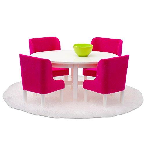 Lundby 60-208000 - Esszimmermöbel für Puppenhaus - Möbelset 7-teilig - Esstisch - Sitzgruppe - Esszimmer - ab 4 Jahre - für 11 cm Puppen - Maßstab 1:18 - Minipuppen, Biegepuppen