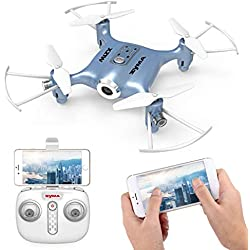 Syma X21W Drone Mini RC con Cámara WIFI FPV 2.4GHz 4CH 6-Axis Cuadricoptero con Retención de Altitud, Plan de vuelo, Control de APP, Modo Sin Cabeza, Rotación de 360°y Luz LED