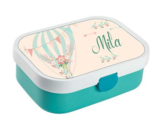 wolga-kreativ Brotdose Lunchbox Bento Box Kinder Luftballon Blume mit Namen Rosti Mepal Obsteinsatz für Mädchen Jungen personalisiert Brotbüchse Brotdosen Kindergarten Schule Schultüte füllen