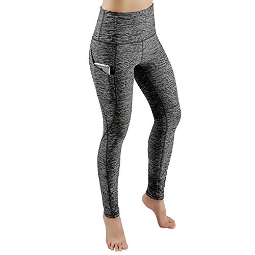 Damen Sport Leggings, Lang Yoga Tights,Damen Leggings lang Sport Yoga Hose Stretch Workout Schwarz mit Tasche - Bauchkontrolle(L,L) (Champion Tights)
