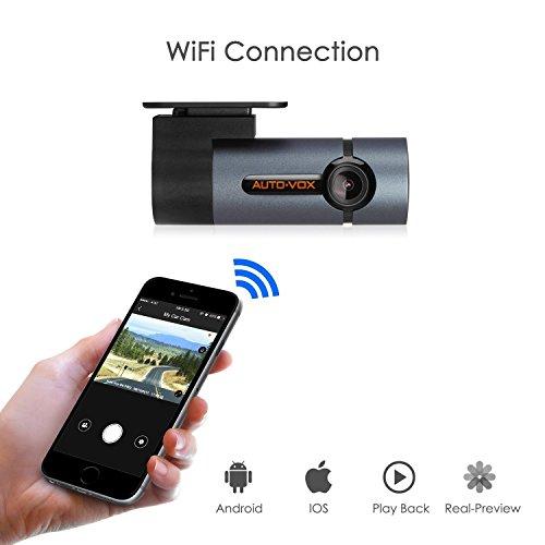 Auto-Vox Wifi Caméra Embarquée Dash Cam D6 Pro HD Enregistreur de conduite avec 300 ° Angle de Rotation, Capteur G, Enregistrement en Boucle