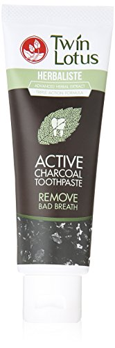 Twin Lotus Active Charcoal Toothpaste Herbaliste Triple Action 100g (3.52 Oz) X 1 Tube #1 USA BESTSELLER