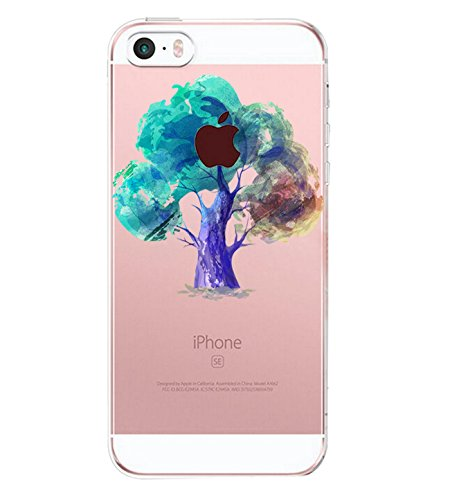 Pacyer iPhone SE Hülle Silikon Ultra dünn Transparent iPhone 5S iPhone 5 Handyhülle Rückschale TPU Schutzhülle für Apple iPhone SE/5S/5 Case Cover Mädchen Elefant Federn (11)