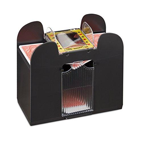 Relaxdays Kartenmischer elektrisch, 6 Decks, batteriebetrieben, Kartenmischmaschine, f. Pokern, Rommé und Skat, schwarz Test
