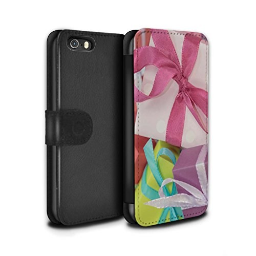 Stuff4 Coque/Etui/Housse Cuir PU Case/Cover pour Apple iPhone SE / Cadeau Or Design / Photo de Noël Collection Cadeau Rose