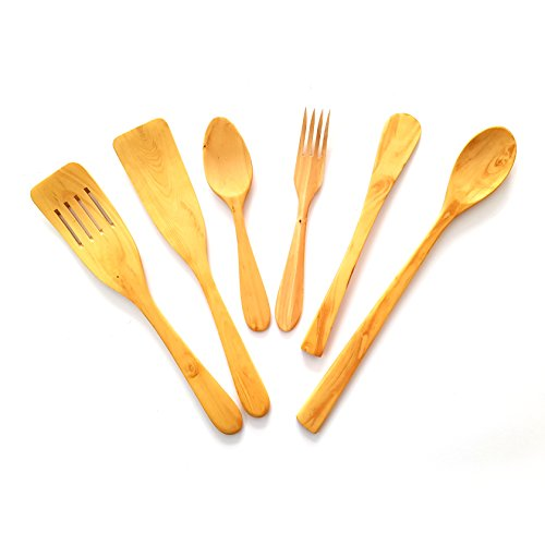 Juego utensilios cocina artesanales fabricados madera