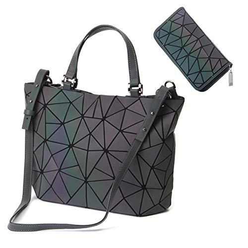 HotOne Scherbe Gitter Design Geometrische Tasche PU-Leder Einzigartige Geldbörsen und Handtaschen (Leuchtend Mittel +Postleitzahl Brieftasche, M) (Tasche Leder Kleidungsstück Große)
