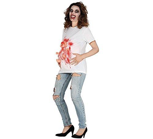 Exorzist Kostüm Zubehör - Besessene Schwangere Exorzismus Kostüm für Damen Halloween blutig Gr. M-L, Größe:M