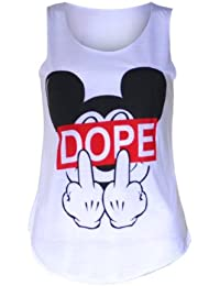 (womens sleeveless mouse dope vest top (m8) Frauen ärmellos Maus dope Westeober (36/38 (uk 8/10), (white) weiß)
