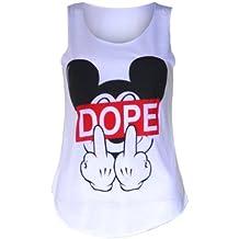 (womens sleeveless mouse dope vest top (m8) Femmes sans manches souris dope dessus de gilet